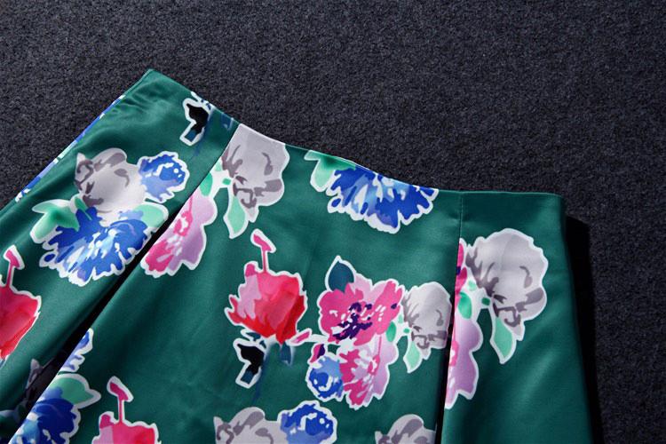 Flower Print Green Skirt White Blouse Suits for Women (12)