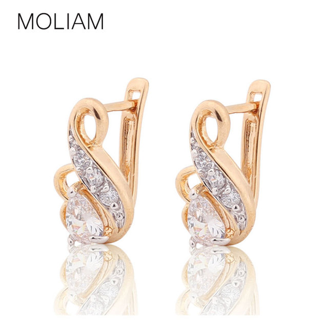 MOLIAM Luxury Brand Fashion Earring for Women Zirconia Crystal Jewelry Designer Earrings 2016 New Arrival MLE194