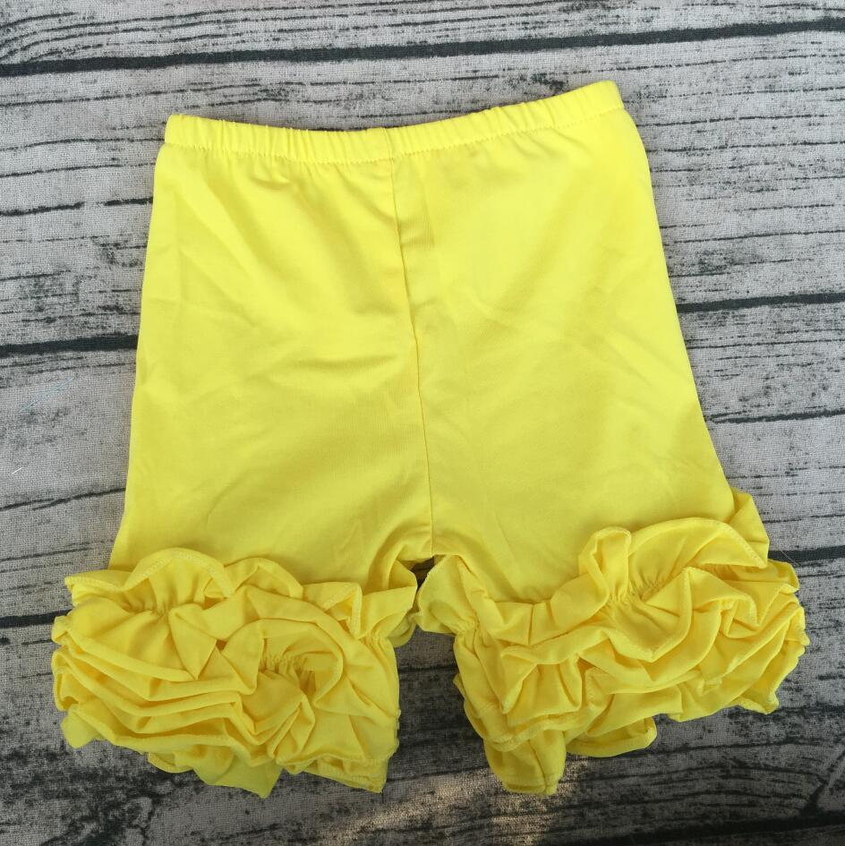 Bright Yellow Girls Cotton pants casual Children Ruffle Icing Shorts Wholesale Children Clothing USA Apparel Baby Boutique
