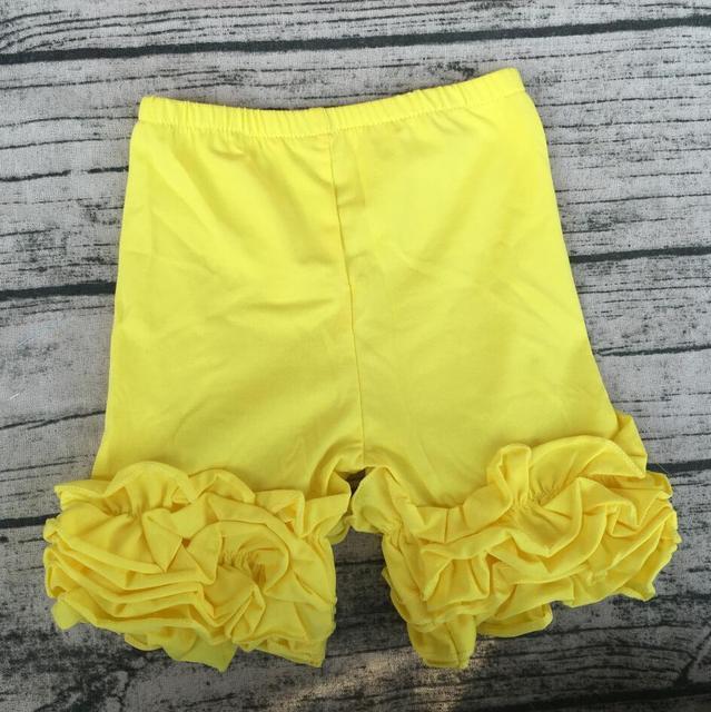73942d4348a308 Giallo brillante Delle Ragazze pantaloni di Cotone casuale Bambini Ruffle  Glassa Bicchierini Dei Vestiti Dei Bambini