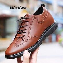 Misalwa 5 CM / 7 CENTIMETRI di Aumento di Altezza di Cuoio Casual Uomini della Scarpa Da Tennis di Moda Maschile Ascensore Scarpe Comode Giovani Uomini di Tutti I Giorni calzature