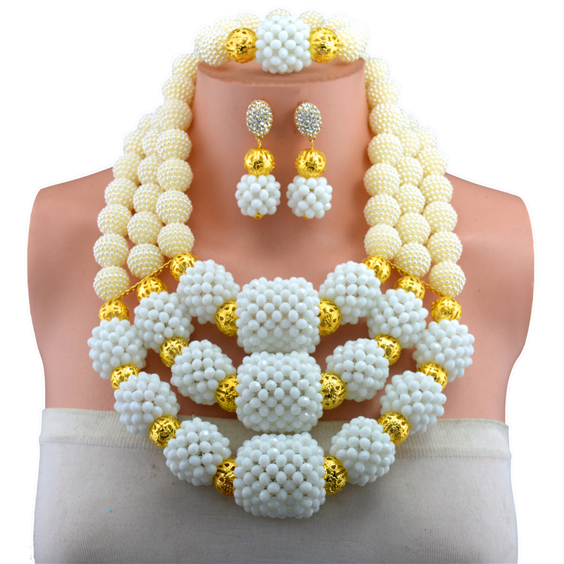 Gorgeous White African Beads Jewellry Set Handmade Plastic Balls Nigerian Wedding Beads Necklace Jewelry Set Bride