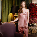 Alta Qualidade 2016 New Arrivals Pijamas de Seda para As Mulheres Cinta Pijama para Mulheres Pijamas Mulheres Pijamas Pijamas das Mulheres de Três-peça