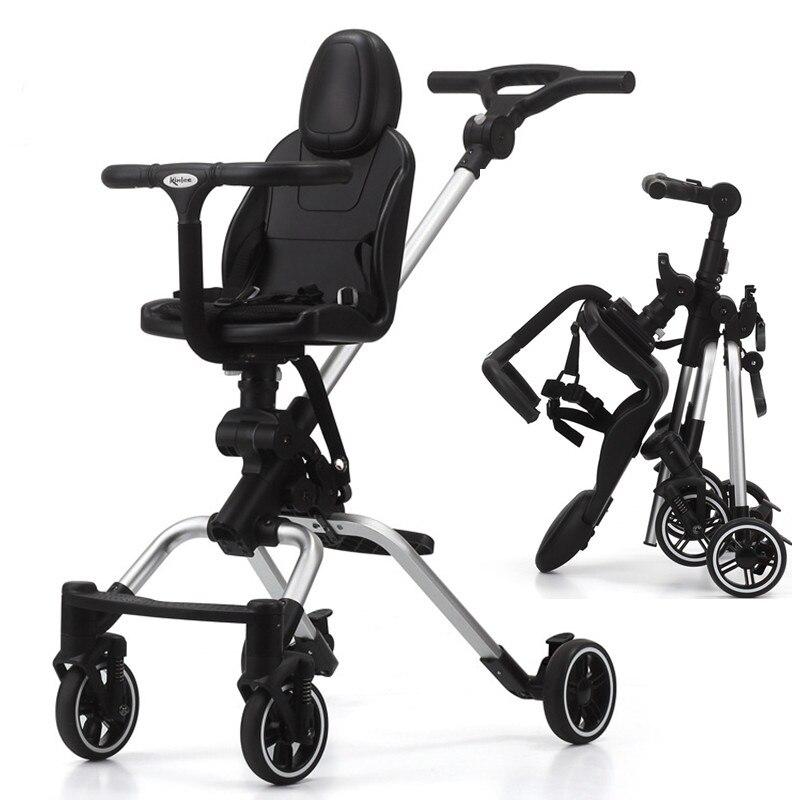 Chariot de bébé haut paysage portable pliant enfant poussette bidirectionnelle bébé quatre roues amortisseur voyage artefact landau