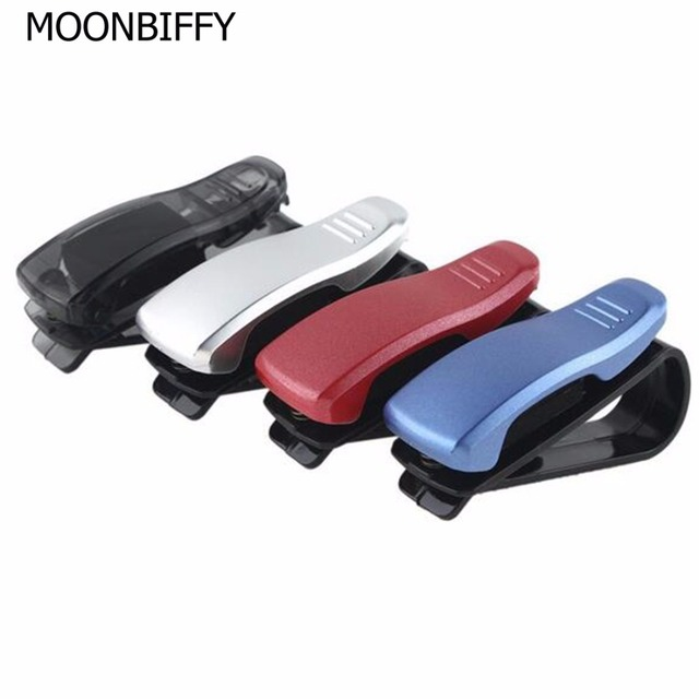 MOONBIFFY 1Pcs Car Accessory Sun Visor Sunglass Eyeglasses Glasses Card Pen Abs Portable Clip Ticket Holder Stand