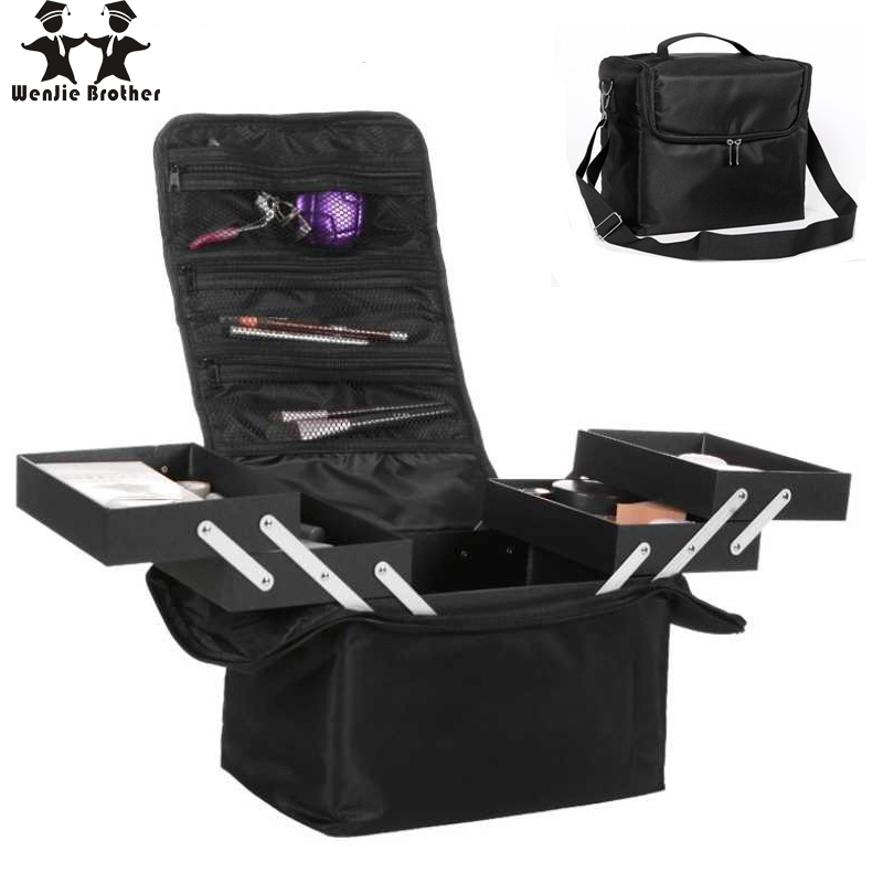 купить Shoulder shoulder double open multi-layer professional makeup case nail tattoo makeup tools storage package по цене 2487.26 рублей