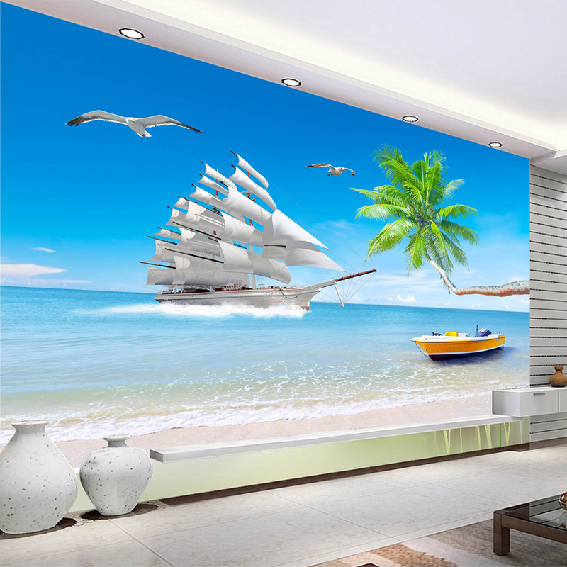 Beach Sea View Custom 3D Photo Wallpaper For Living Room Background Wall Large Murals Modern Wall Painting Wallpaper Home Decor sea world 3d wallpaper murals for living room bedroom photo print wallpapers 3 d wall paper papier modern wall coverings
