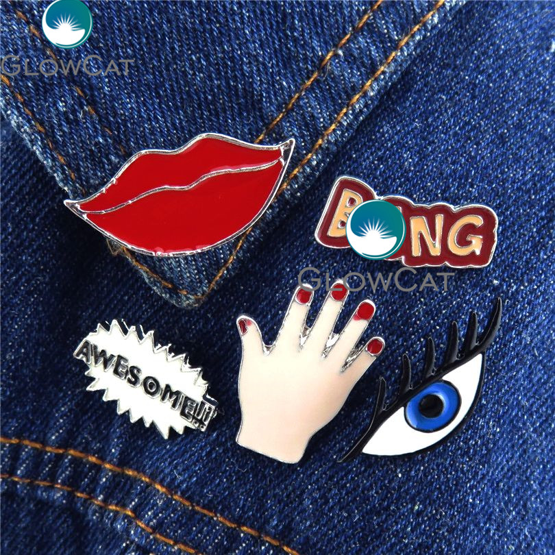 GLOWCAT 21850 Sexy Lips Eye Hand BANG AWESOME Brooches Denim Jacket Collar Clothes Hat Decoration Pin Badge Fashion Girl Jewelry