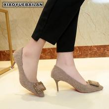 High Heel Shoes 2018 Spring New Female European And American Hair Water Drill Point Shallow Mouth Single Shoe Square Buckle 6