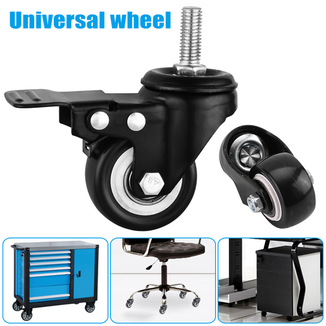 1 2 4pcs Office Chair Wheels 2inches M10 Swivel Rubber Universal Caster With Brake Ali88