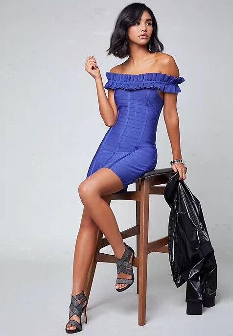 L'épaule Qualité Sexy Mini Club Bleu Couleur Slash Moulante Cou Haute Dames Hl Nuit Hors De Robe Bandage EWIH29D