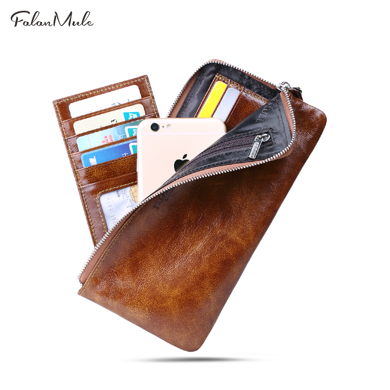 FALAN MULE Genuine Leather Men Wallets Men's Purses Male Clutch Bag Coin/Card/Phone Holder Fashion Wallet Purse fashion men multifunction wallets men s long purse high capacity wallet male clutch genuine leather zipper coin bag card holder