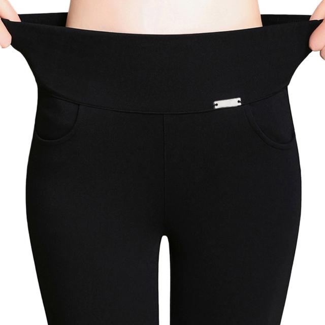 2017 Nuevo de Las Mujeres de Trabajo de Oficina Pantalones y Polainas de Las Señoras Más El Tamaño 6XL Alta Estiran Los Pantalones Del Lápiz Del Color Del Caramelo Femeninos Pantalones de cintura