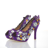 Purple Wedding Shoes Crystal High Heel Bridal Shoes Handmade Nightclub Rhinestone Bride Shoes Peep Toe Spring