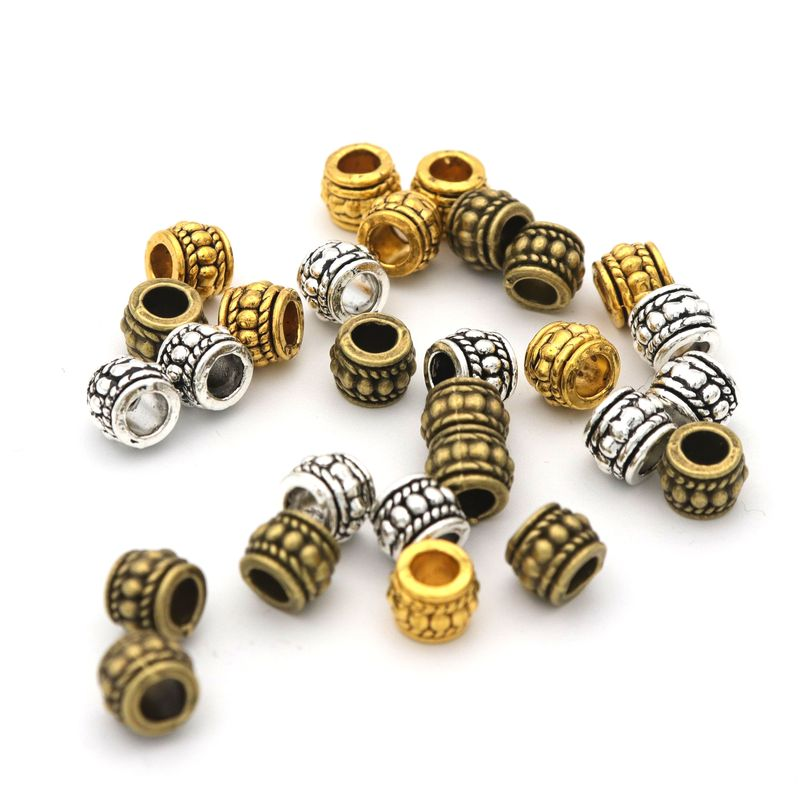 Tibetan Silver Brass Spacer Beads Metal Small Round Tube Jewelry Findings 5x3mm