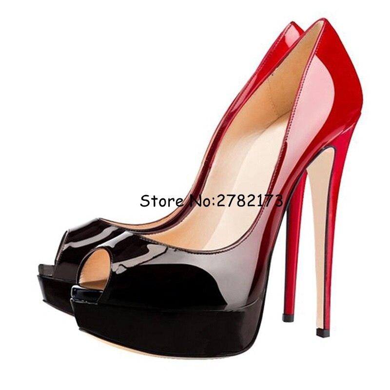 Hot Wedding Party Dress Woman Shoes Peep Toe High Platform High Heels Sandals Patent Leather Multicolor Lady Sli-on Pumps Shoes
