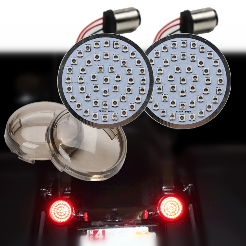Red LED Turn Signal Runing Light insert Harley Bullet 1157 Bulb FL FX XL Smoked Lens Touring Dyna Softail Sporster Street Road