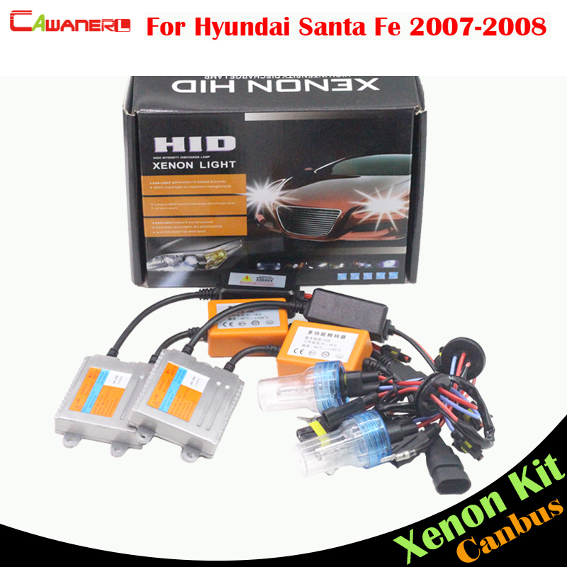 Cawanerl 55W H7 HID Xenon Kit Canbus Ballast Bulb AC 3000K-8000K Auto Light Headlight Low Beam For Hyundai Santa Fe 2007-2008