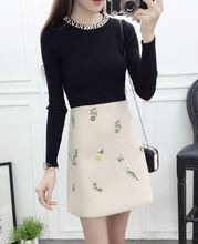 2018 new fashion women o neck pullover sweater top skirt 2 pcs clothing set vestidos lady beading decor design outfit S M L studio m new white ivory women s small s sharkbite scoop neck sweater $88 098 page 5