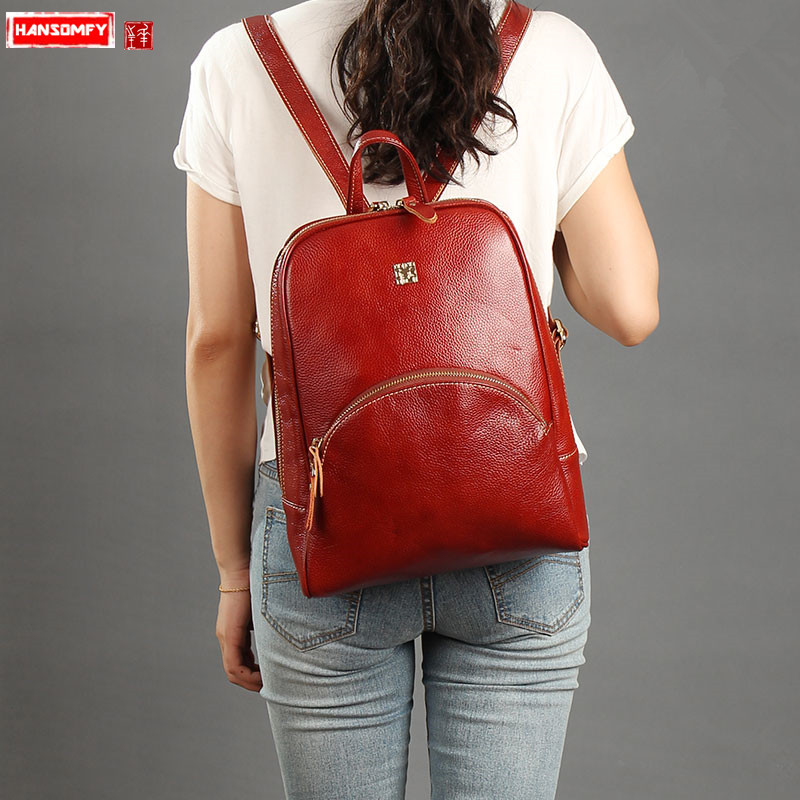 New first layer leather Women shoulder bag female 13 laptop backpack vintage Large capacity college wind