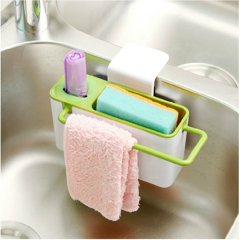 Kitchen multifunctional suction cup rack shelf draining sink tidy ...