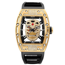2019 New Skone Mens Fashion Military Silicone Strap Rectangle Dial Skull Face Men Watches Wrist  3D Scrub Genuine