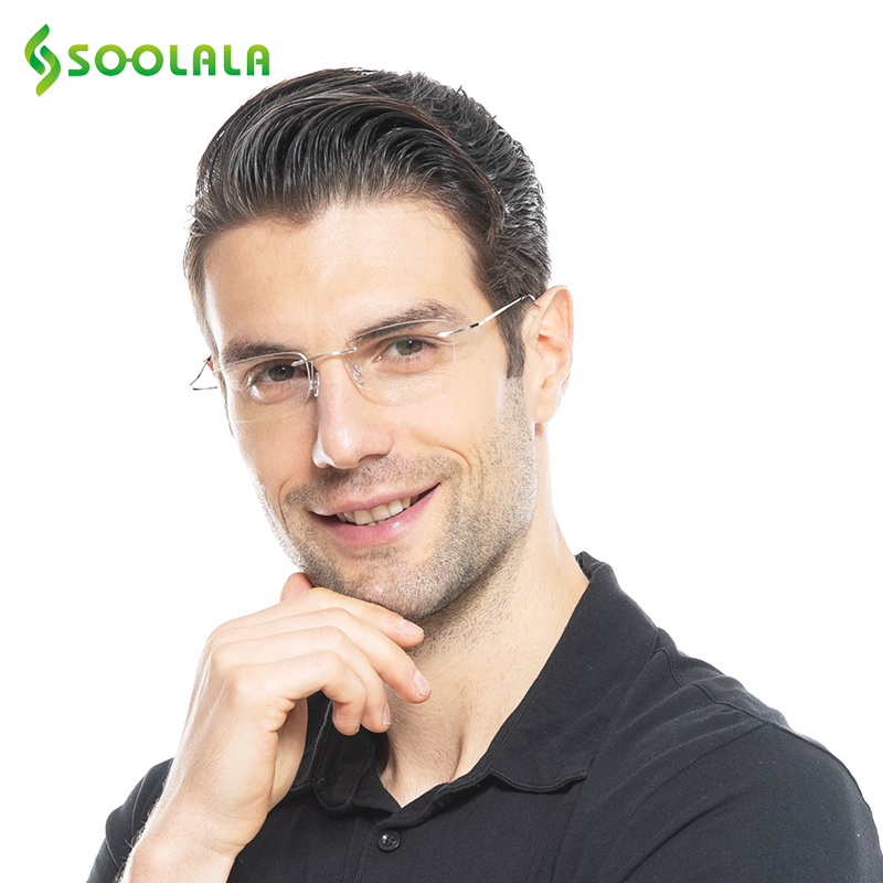 SOOLALA Clear Lens Rimless Reading Glasses Men Women High Quality Comfy Ultra-light TR90 Resin Presbyopic Glasses