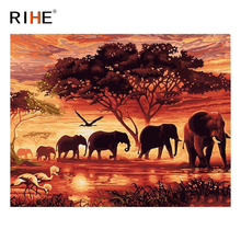 RIHE Elephant Family Diy Painting By Numbers Animal Oil On Canvas Forest Hand Painted Cuadros Decoracion Acrylic Paint