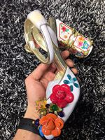 fashion women top quality vintage high heels party shoes, with flower genuine leather women high heeled wedding shoes