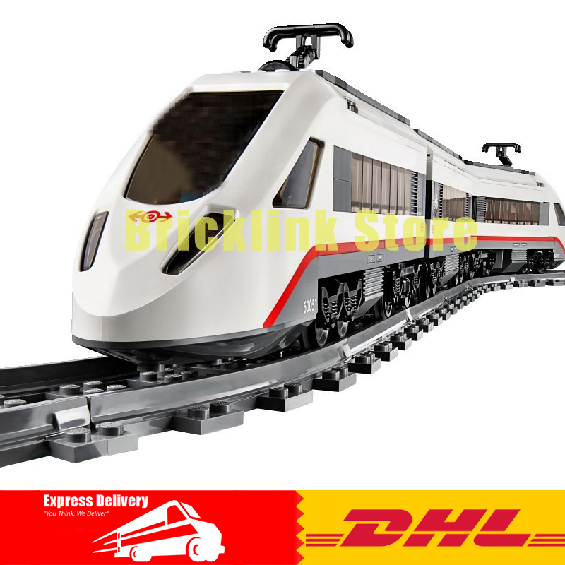 IN-STOCK DHL Lepin 02010 New 610Pcs The High-speed Passenger Train Building Remote-control Trucks Set Blocks Bricks Toys 60051 lepin 02010 city trains high speed passenger train model building blocks enlighten diy figure toys for children compatible 60051