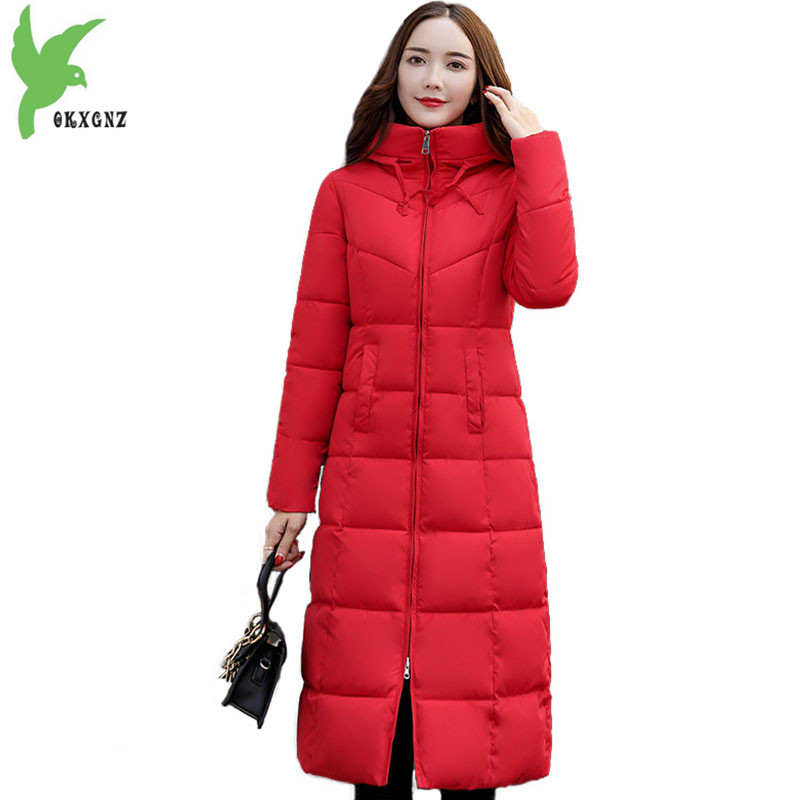 New Winter   Parkas   Women 2018 Down cotton Jacket Long Coat Female Hoodies Tops Plus size Thick Warm Slim Cotton   Parkas   OKXGNZ2147