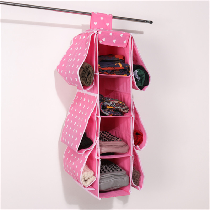 4 Layer Closet Holder Hanging Cloth Organizer Storage Rack Holder 6 Side Pockets Bedroom Wardrobe Clothes Storage Bag Containers