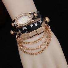 Luxury Brand Rhinestone Watches Women Punk Style Bracelet Watches Ladies Casual Analog Wristwatches Leather Quartz Watch AC111
