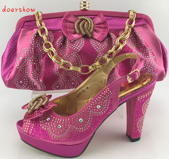 doershow Italian shoe with matching bag for  party african shoe and bag set new design ladies shoe and bag to match set  PME1-14 shoes and bag to match italian african shoe and bag set for party in women italian matching shoe and bag set doershow hjt1 25