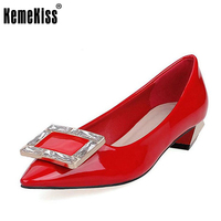 KemeKiss Fashion Brand Women Pumps Spring Pointed Toe Slip On Shoes Women Metal Decoration Shallow Office