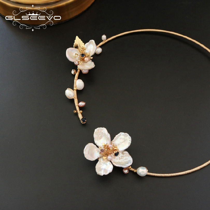 GLSEEVO Natural Fresh Water Baroque Pearl Handmade Adjustable Flower Collar Necklace For Women Gifts Luxury Fine Jewelry GN0062 2