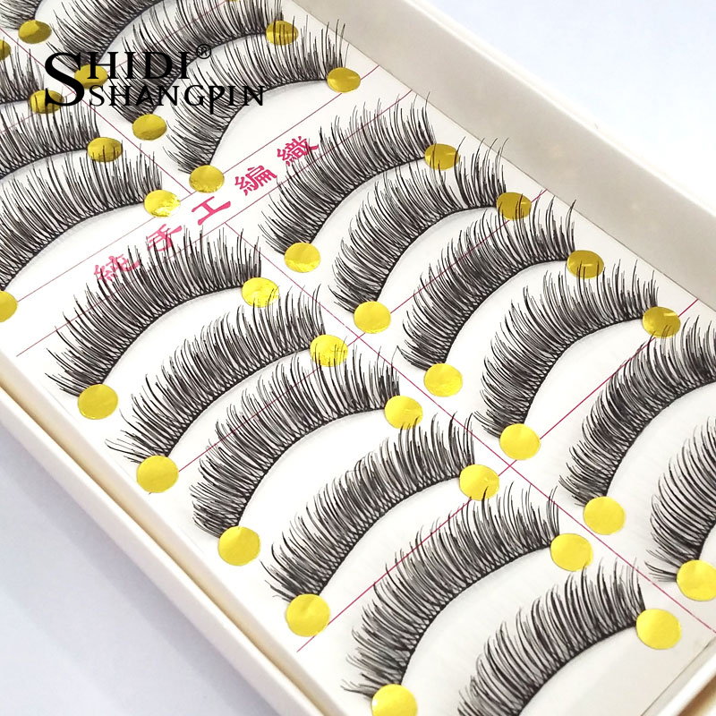 10 Pairs Handmade Natural Bare Makeup Long False Lashes Faux Cils Soft Black Cilia Cilios Fake Eyelashes Makeup Tool #TW02