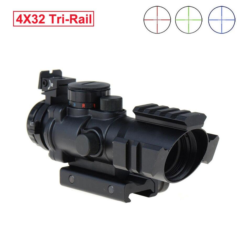 Lunette de chasse 4x32 ACOG Reflex tactique rouge vert bleu illuminé optique portée de vue avec queue d'aronde 20mm Triple-Rail