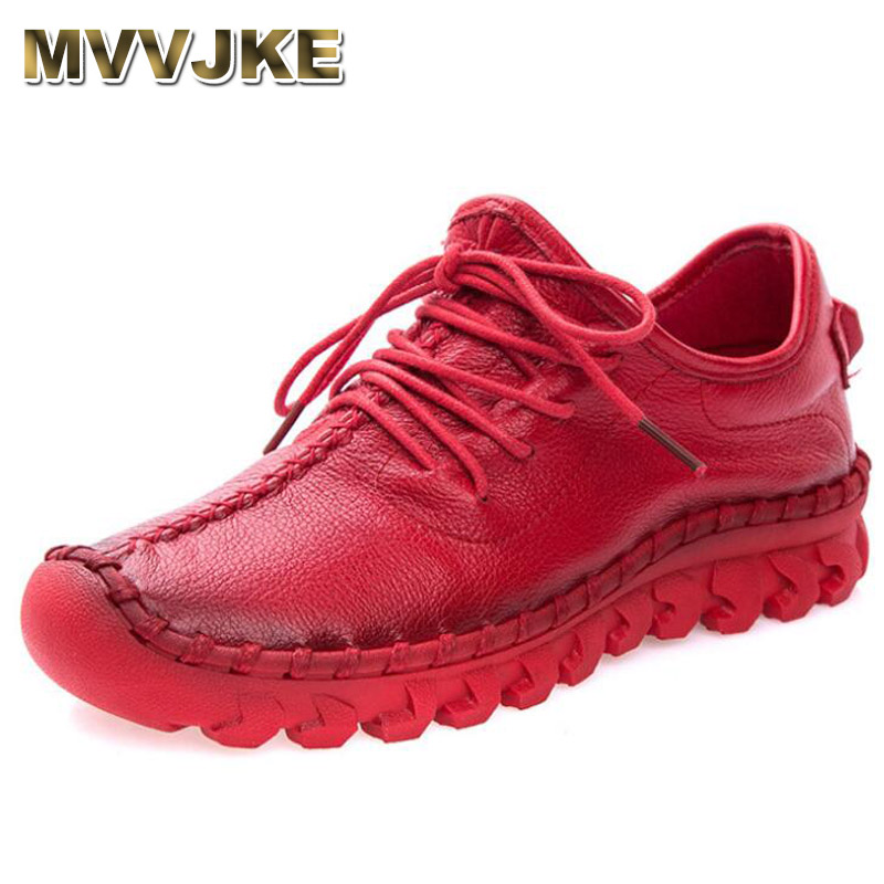 MVVJKENew Handmade Genuine Leather Women Shoe Sneakers Casual Shoes For Women Flat Shoes Ladies Lacing Loafers Zapatos MujerE116