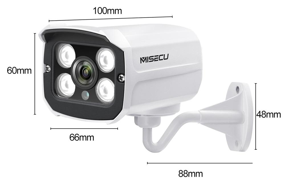 MISECU H.265 Audio Camera Sound Record DC 12V 48V POE Waterproof Metal 2.0MP Full HD Motion detect RTSP FTP Onvif Night vision