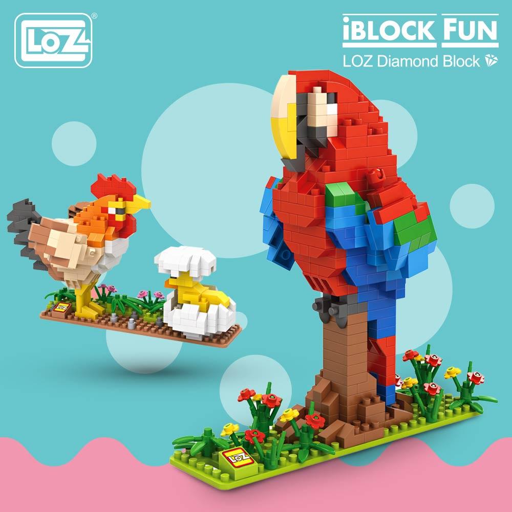 LOZ Diamond Blocks Birds Animal Figures Toys Chicken Parrot Peacock Eagle Building Blocks Plastic Assembly Toys Model 9544-9547