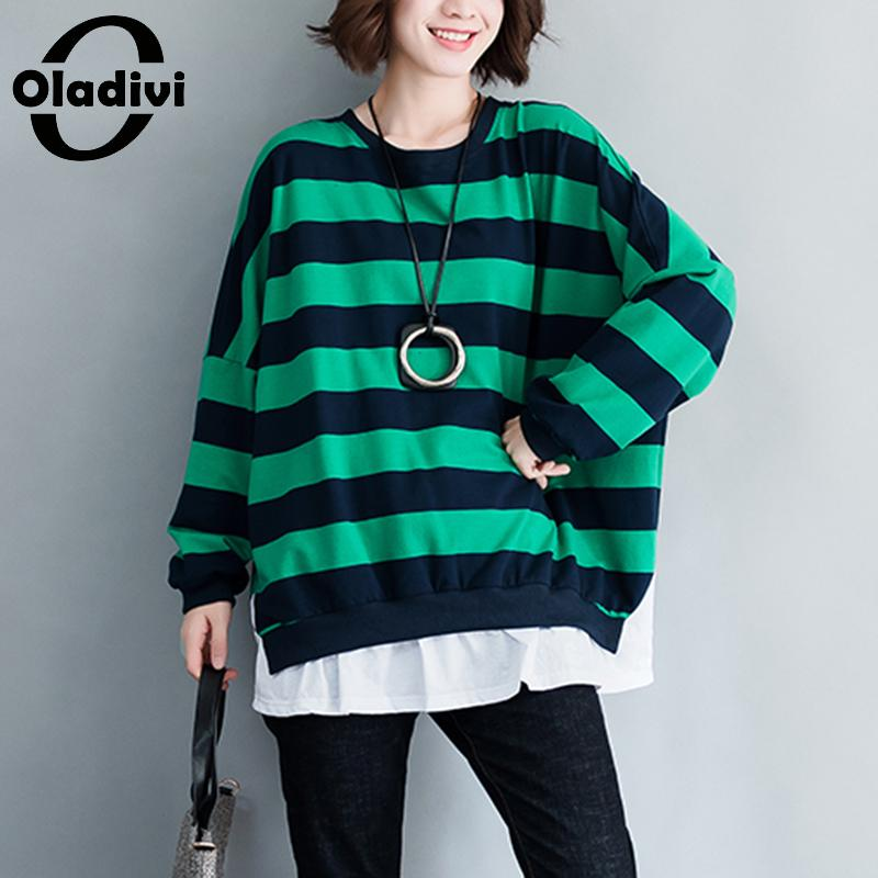 Oladivi Brand Big Plus Size Women Clothing Casual Loose Patchwork Striped Shirt Ladies Top Tees Female T Shirt Short Tunic Blusa