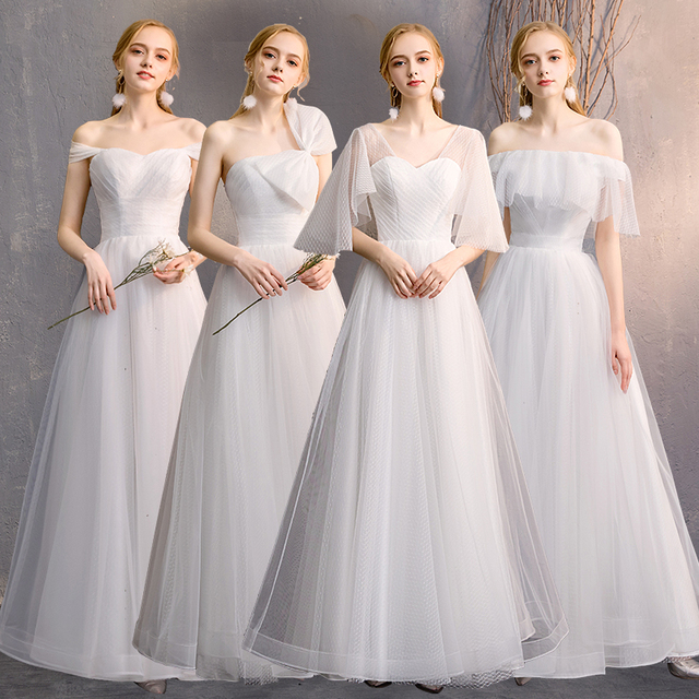 US $39.0 40% OFF Beauty Emily Long A line Lace White Bridesmaid Dresses  2019 for Women Plus Size Wedding Party Prom Women Dresses Free Shipping-in  ...