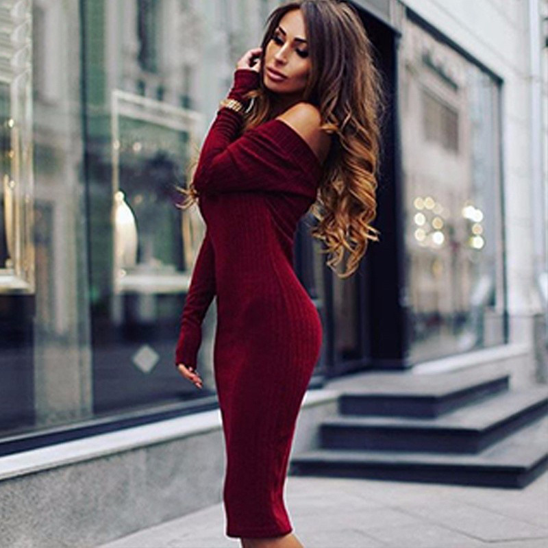 f3cea9b8943df New Sexy Vestido Night Club Office Dress Off Shoulder Knitted Maternity  Sweater Women Clothes Warm Long Sleeve Winter Mini Dress-in Dresses from  Mother ...