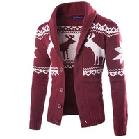 Sweater Men 2018 Brand Concise Deer Christmas Sweater Coat Cardigan Male Printing Slim Mens Cardigan Sweater Coat Man Cardigan