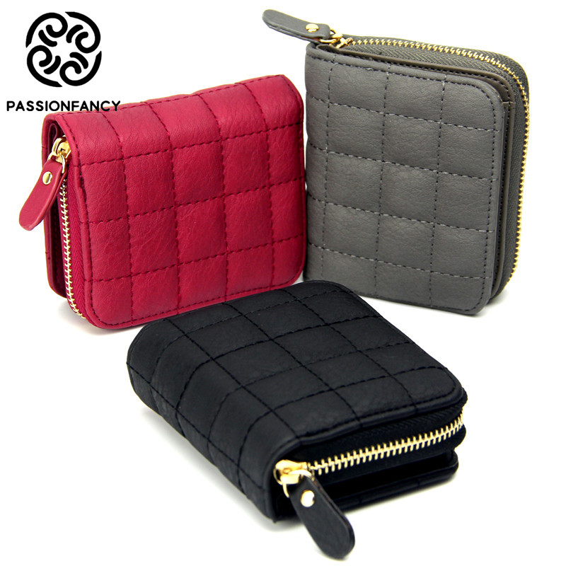 7d85219369a Women Short Wallets PU Leather Female Plaid Purses Nubuck Card Holder Wallet  Fashion Woman Small Zipper