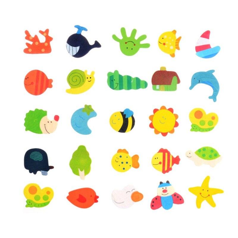12pcsset Random Pattern Cute Cartoon Wooden Fridge Stickers Early Learning Cartoon Animal Early Education Toys For Kids j3