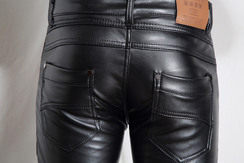 2015 Fashion Men Pu Leather Pants Warmly Thickness Casual Trousers