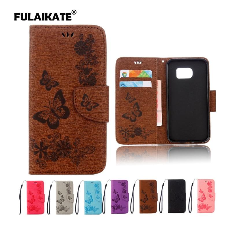 FULAIKATE Butterfly Flip Ledertasche für Samsung Galaxy S7 Edge - Handy-Zubehör und Ersatzteile