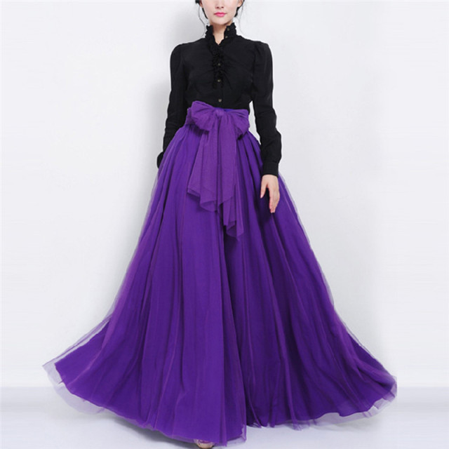 Long Maxi Tulle Skirts Women Elegant Solid A Line Casual Bandage Skirt Bow Tie Korean Mesh Big Swing Ball Gown Party Skirt
